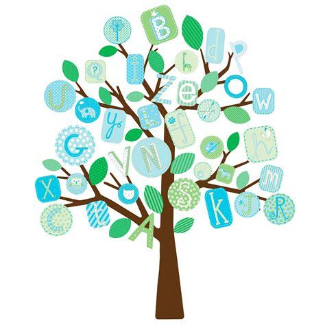 Sticker Buchstaben Blau by Roommates Wandsticker Baum Blaues Alphabet Kinderzimmer