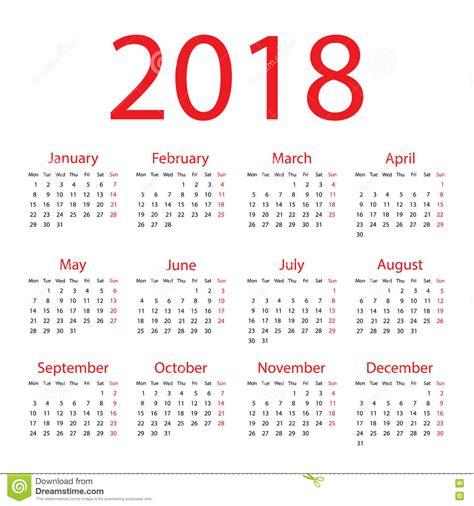 Calendrier 2018 Illustrator Calendrier 2018 Illustration De Vecteur Image Du