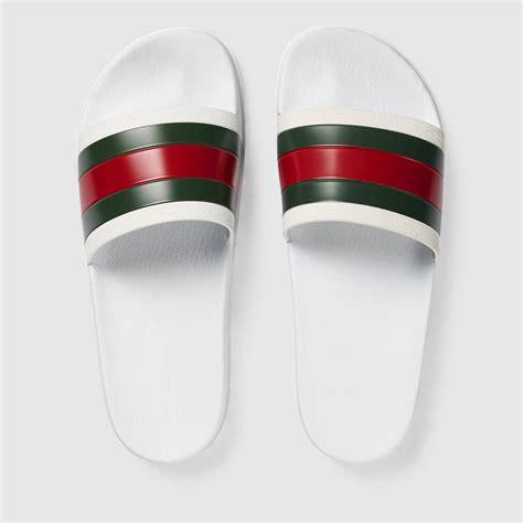 white gucci sandals web slide sandal gucci s sandals slides