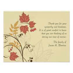 autumn leaves bereavement thank you notecard 11 cm x 14 cm invitation card zazzle