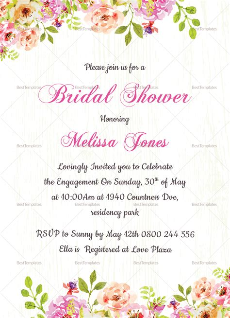 Floral Bridal Shower Invitation Card Design Template In Word Psd Publisher Free Bridal Shower Invitation Templates Photoshop