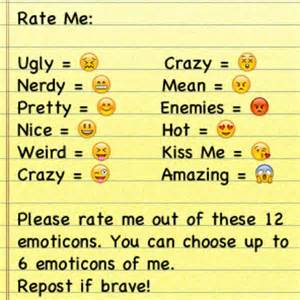 Rate me and choose up to 6 emoticons only repost if brave flickr