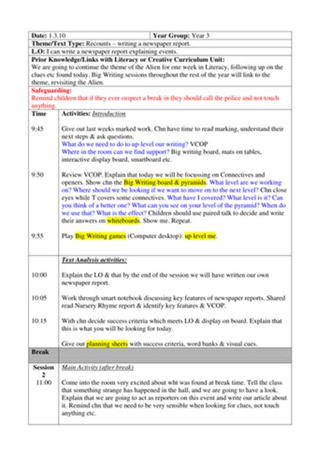 Newspaper Report Writing Year 3 Planning by Newspaper Report Big Writing By Amygaunt Teaching Resources Tes