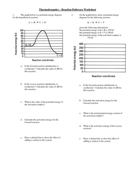 potential energy diagram worksheet pics for gt potential energy diagram worksheet