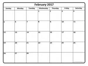 February calendar 2017 template free template