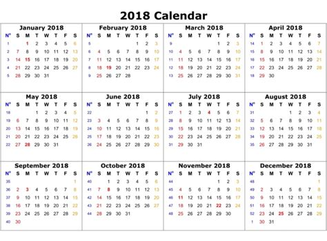 Printable Calendar By Month 2018