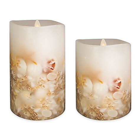 bed bath and beyond candles luminara seashell pillar candle in white bed bath beyond