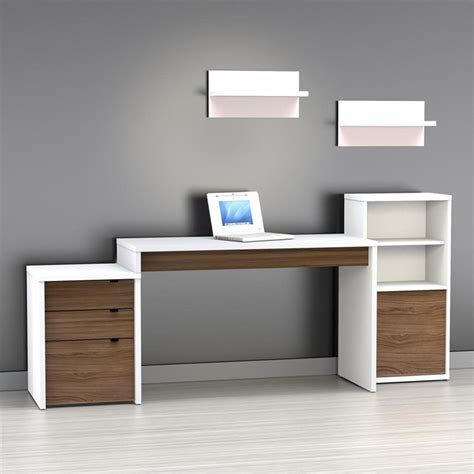 Modern White Computer Desk Wood   Thediapercake Home Trend