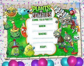 plants vs zombies invitation template plants vs zombies etsy