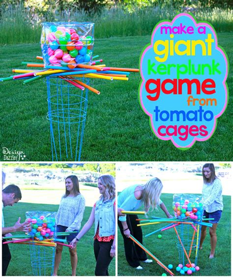 big backyard games make a giant outdoor kerplunk game from tomato cages