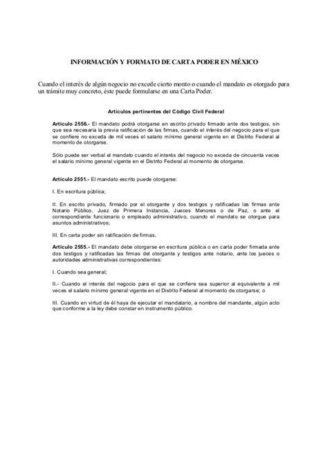 ejemplo de carta poder notarial car pictures carta poder formato general formato carta poder