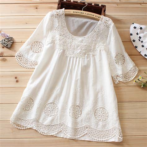 Blouse Kerah Renda Blouse Polos embroidery white blouse boho tops summer lace shirt blusa branca feminina renda chemise