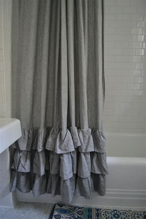 grey ruffle shower curtain vintage bathroom with pottery barn gray ruffle shower