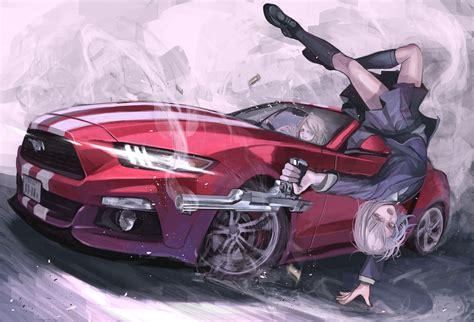 anime mustang anime hair grey gun weapon ford mustang car