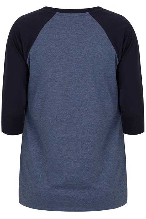 blue navy 3 4 sleeve t shirt with contrast raglan