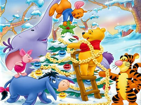 winnie the pooh decorating christmas tree wallpaper