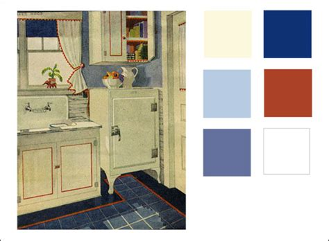1929 kitchen color scheme three blues and white