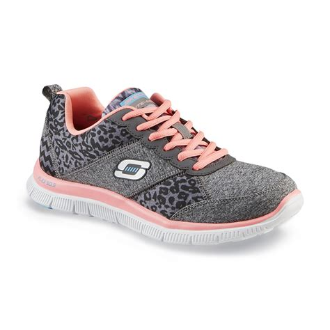 animal print athletic shoes skechers s tribeca gray pink leopard print running shoe