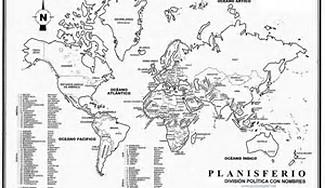 Planisferio Con Division Politica Y Nombres