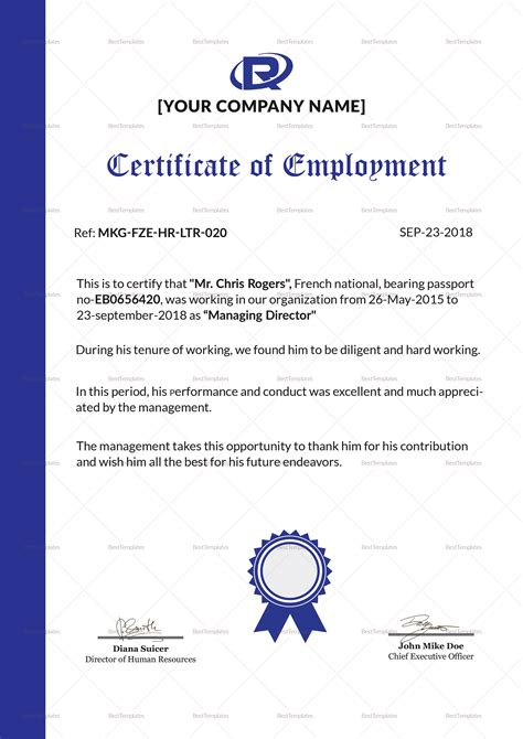 sle of employment certificate template excellent employment certificate design template in psd word