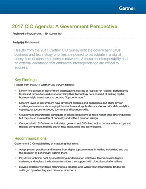 gartner research papers gartner research 2017 cio agenda a government perspective