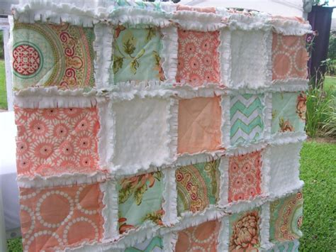 Coral Colored Quilts by Crib Rag Quilt Coral Minky Mint Aqua Chevron Shabby