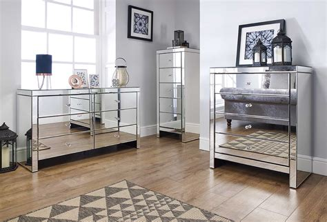 Mirrored Bedroom Furniture For Sale by Seville 6 Drawer Chest Birlea