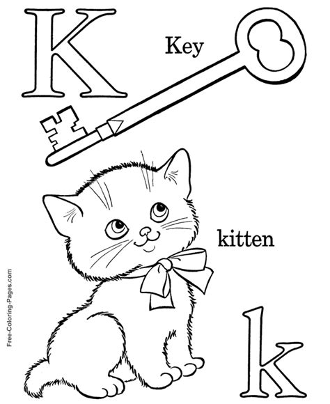 Alphabet Coloring Sheets K Is For Kitten K Coloring Page