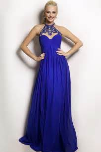 flowing high neck empire waist long royal blue chiffon
