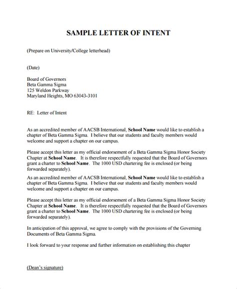 Letter Of Intent Exle Undergraduate School Sle Letter Of Intent For 7 Documents In Pdf Word