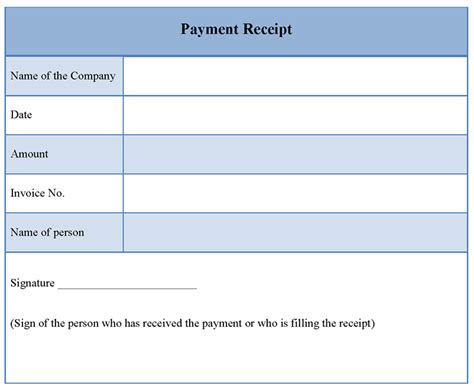 templates for a receipt receipt of payment template helloalive