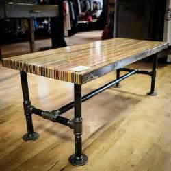 Pipe Leg Coffee Table Items Similar To Recycled Skateboard Coffee Table Butcher Block Table With Black Industrial