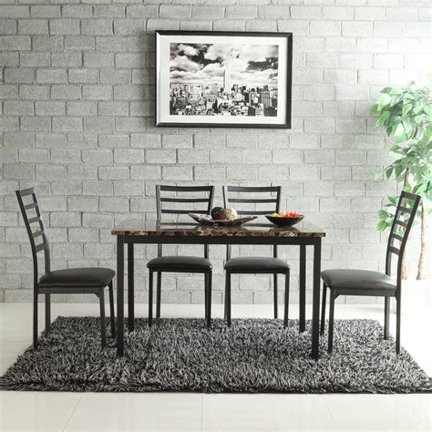 Oxford Creek Furniture by Oxford Creek Kirkham Faux Marble 5 Casual Dining Set