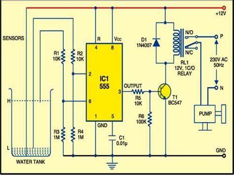 water tank level controller circuit diagram 555timer based water level controller free electronics
