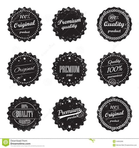 collection of vintage product labels and signs premium quality and top product stock vector