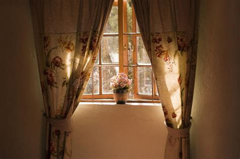 curtains to window sill window sill with pot plant and curtains stock image