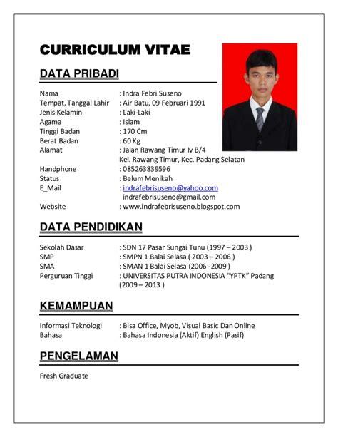 Cv Template Indonesia Cv Resume Resume Cv Contoh
