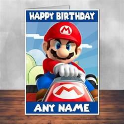 mario mario birthday card mario kart personalised with envelope ebay