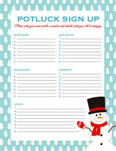 Christmas Potluck Sign Up Sheet By Categories » Home Design 2017