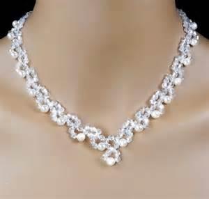 Swarovski crystal and cream pearl beadwoven bridal jewelry set
