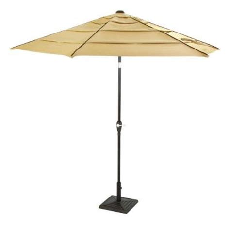 Hton Bay Madison 9 Ft Tilting Patio Umbrella In Brown Home Depot Patio Umbrellas
