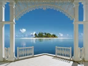 Beautiful Wall Murals Beautiful View Beach Blue Green Sea Window Imgstocks Com