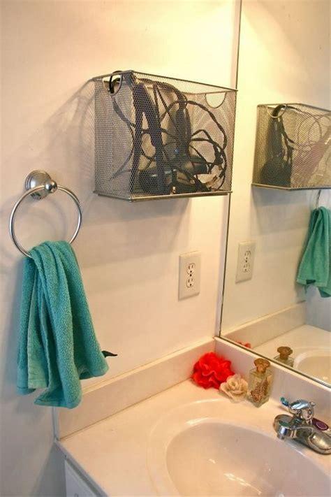 creative hair dryer  curling iron storage ideas hative