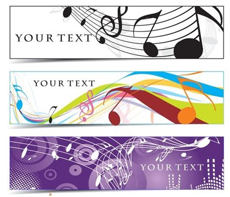 free set of musical notes banners vector titanui