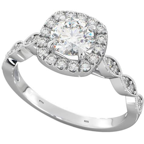 925 sterling silver cut halo wedding engagement ring