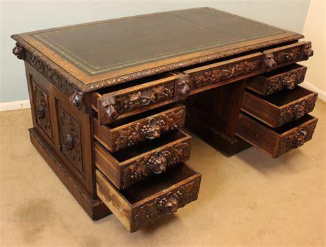 carved oak kneehole pedestal writing carved oak kneehole pedestal writing desk antiques atlas