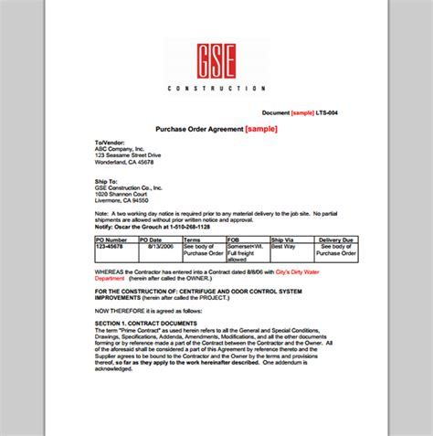 purchase template  order contract   purchase order contract template sample templates