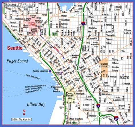 seattle map with hotels seattle map tourist attractions map travel