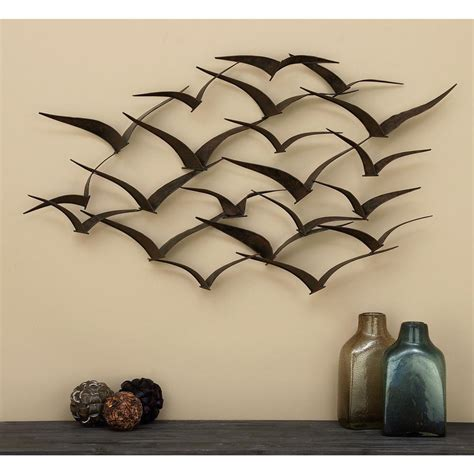 metal wall decor and sculptures in flight 47 in flock of birds metal wall sculpture 80954 the home depot