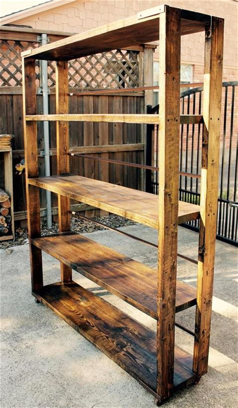 how to make shelves out of pallets diy reclaimed pallet bookshelf bookcase